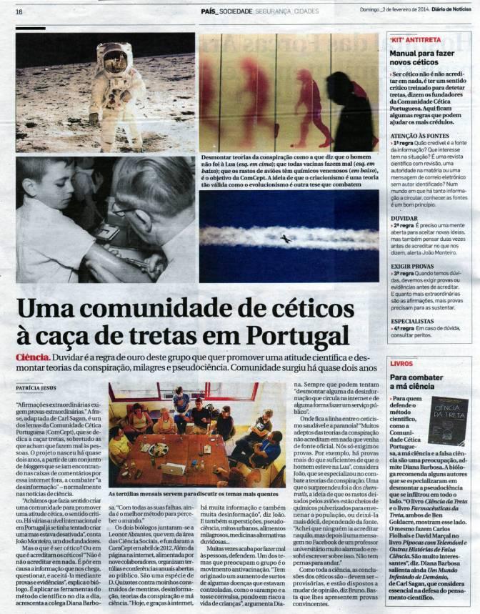 """""""Uma comunidade de céticos à caça de tretas em Portugal"""". Patrícia Jesus. Diário de Notícias, 2 de Fevereiro de 2014."""