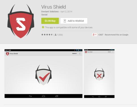 Aplicação Virus Shield na Google Play. Via Android Police.